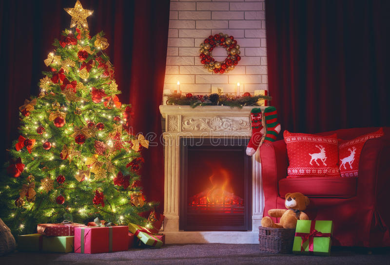 Living room decorated for Xmas royalty free stock photos