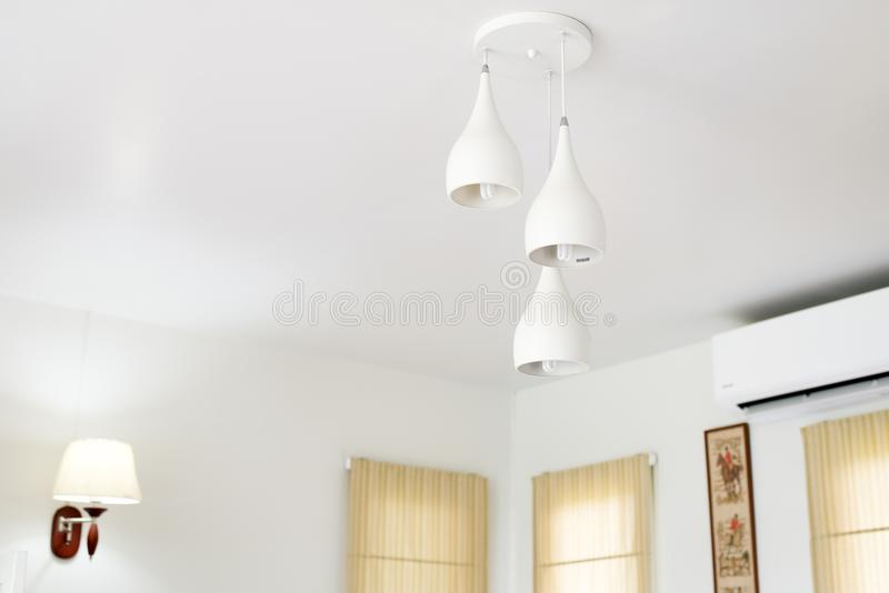 Living room decorative interior design White toned and modern lamp. At home stock photo