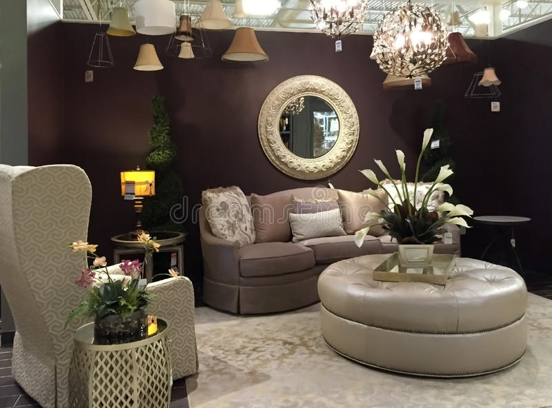 Living room design in furniture market royalty free stock photo