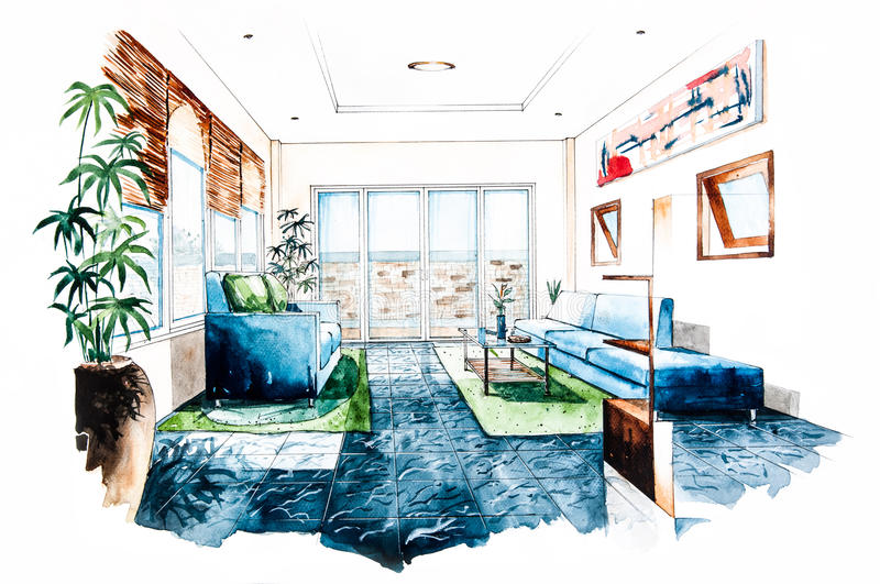 Download Living Room Design Of Watercolor Painting Stock Illustration