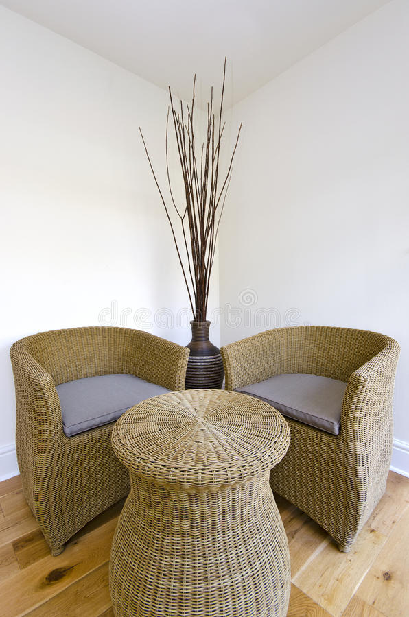 Download Living Room Detail With A Rattan Chairs And Table Stock Photo - Image of cushions, bamboo: 27459538