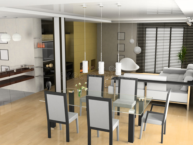 Living a room with a dining zone. Modern living a room with a dining zone 3D royalty free stock photography