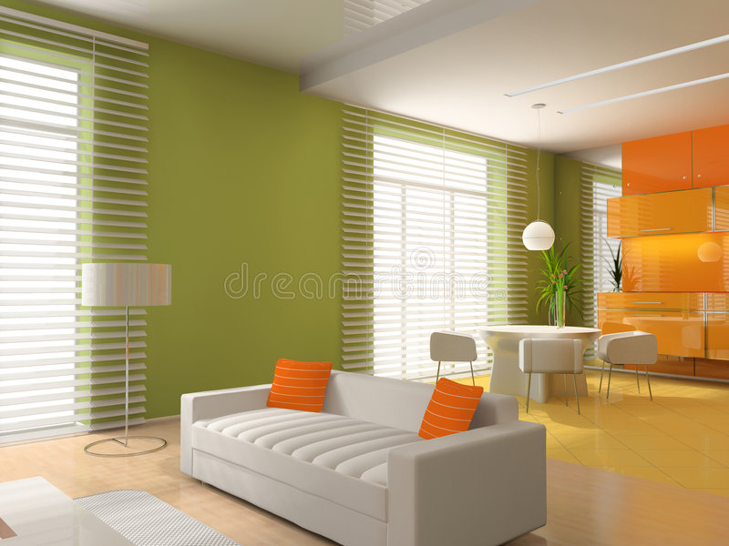Download Living A Room With A Dining Zone Stock Illustration - Illustration: 8970815