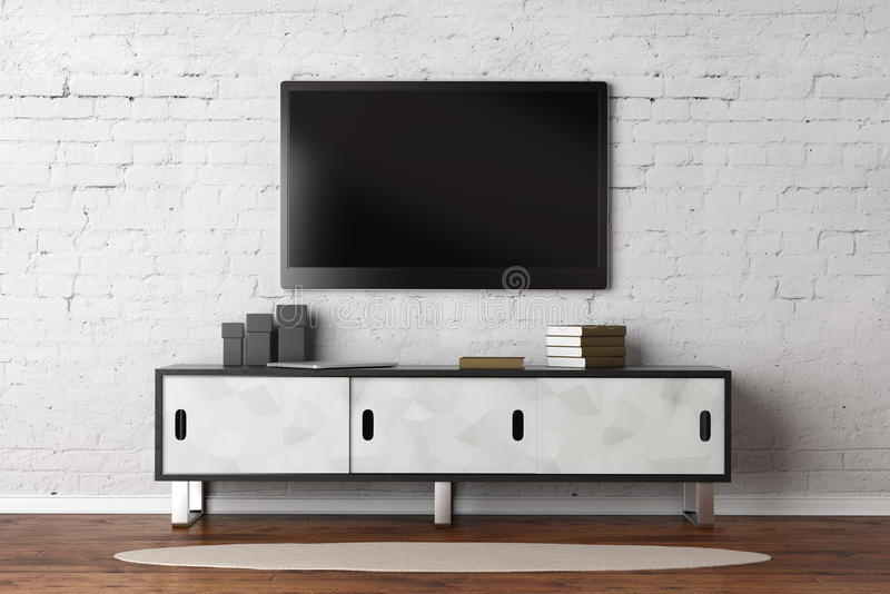 Living room with empty TV monitor royalty free illustration