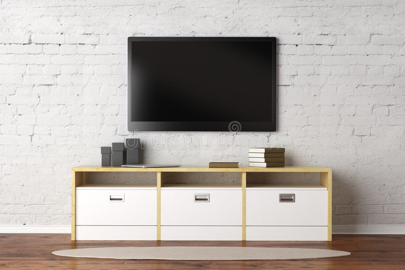 Living room with empty TV screen stock illustration