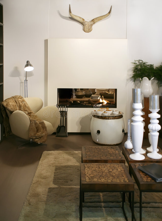 Living room with fair-place stock images