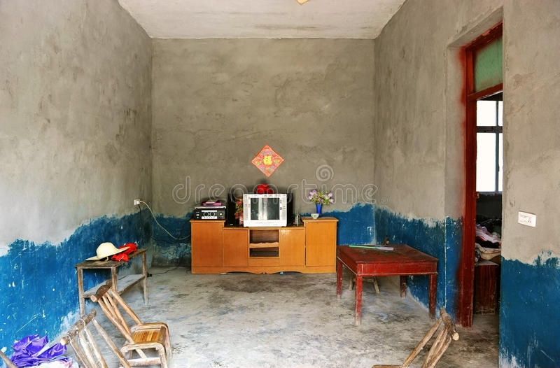 The living room of a farmer's house stock photography