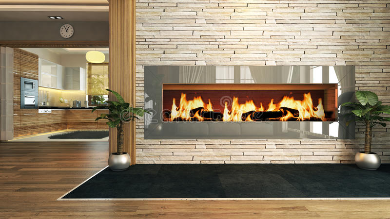 Living room with fireplace decor design stock images