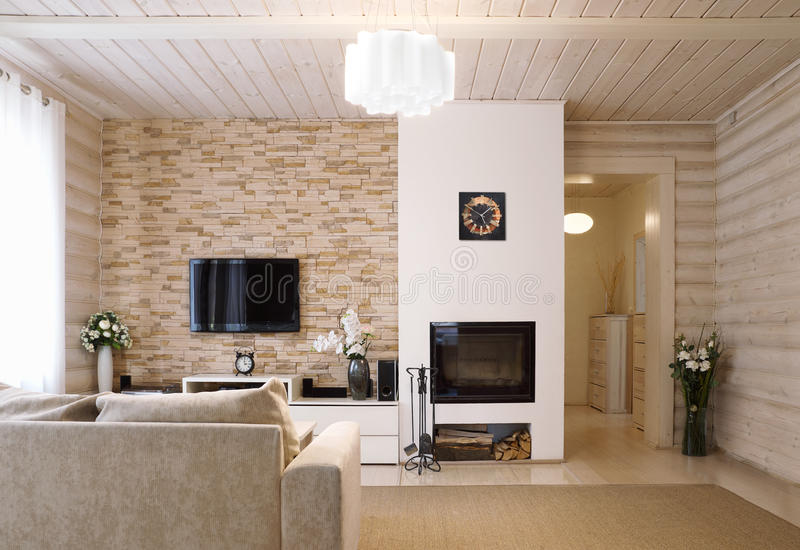 Living room with a fireplace stock photos