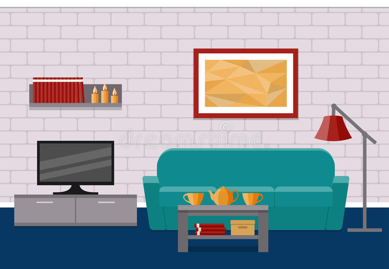 Living Room Flat Interior Vector Graphic Stock Vector