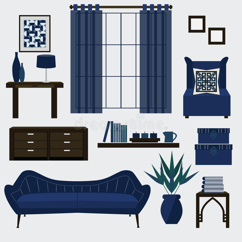 Download Living Room Furniture And Accessories In Color Navy Blue Stock  Vector   Image: 48429118