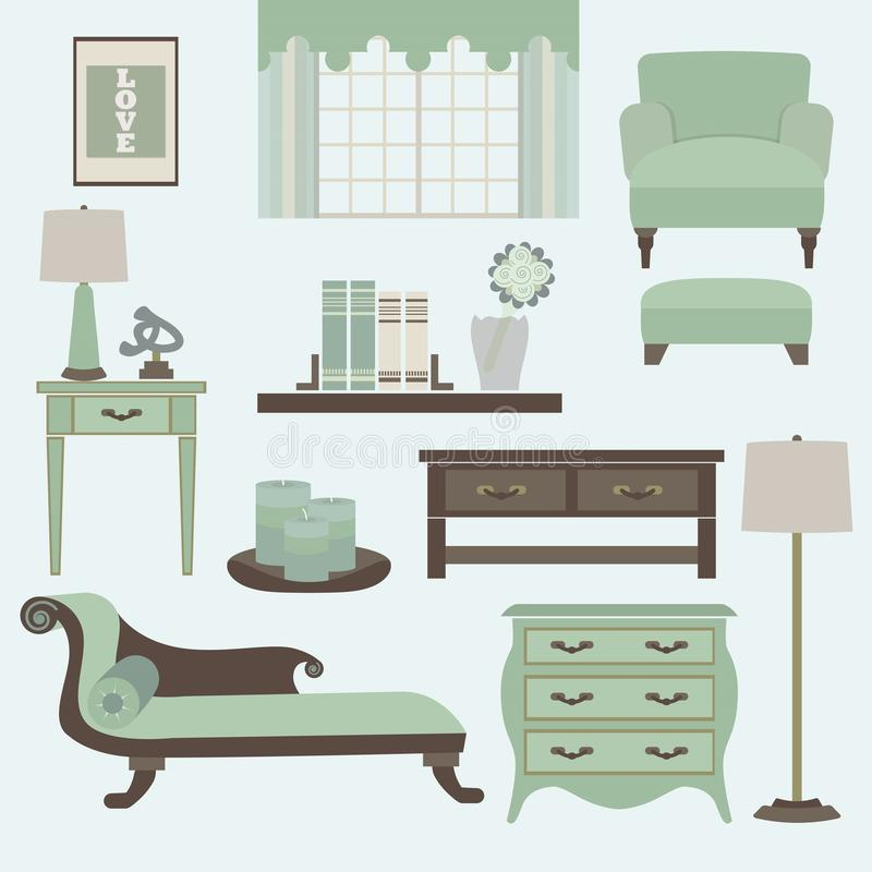Living room furniture and accessories in color tea. L- Arm chair, fainting couch, coffee table, side table, chest drawer, and lamps in flat design vector illustration