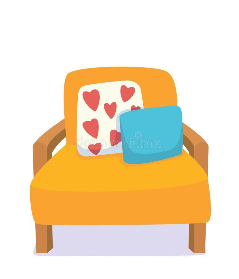 Living room furniture: chair, pillows.Modern design interior. Flat style vector illustration. stock illustration