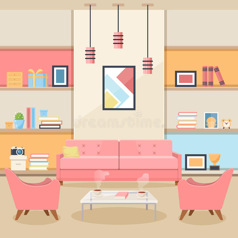 Living Room With Furniture. Cozy Interior. Flat Style Vector Stock ...