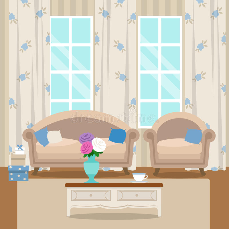 Living room with furniture. Cozy interior. Flat style vector. Living room with furniture. Cozy interior With sofa, armchair, coffee table and vase of flowers vector illustration