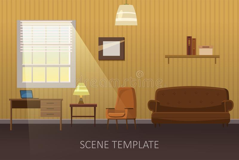 Living room with furniture. Cozy interior with sofa and tv. Cartoon style vector illustration. Scene template for vector illustration