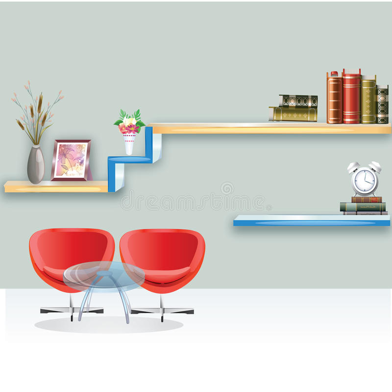Living room with furniture. Flat style vector illustration. stock illustration