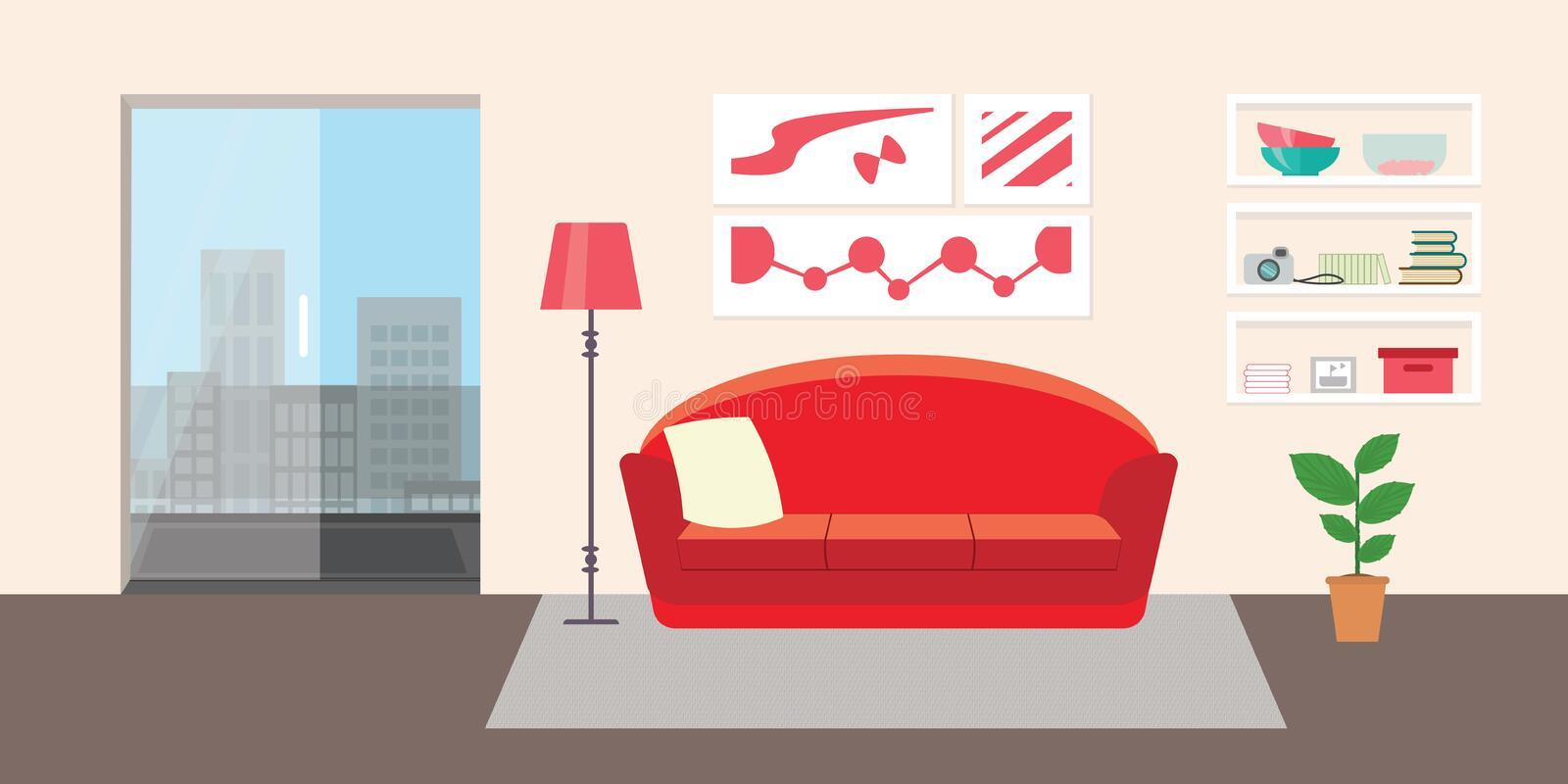 Living room with furniture. Flat style vector interior illustration . Sofa, pillow, lamp, pictures, balcony, flower, shelf. Dayli royalty free illustration