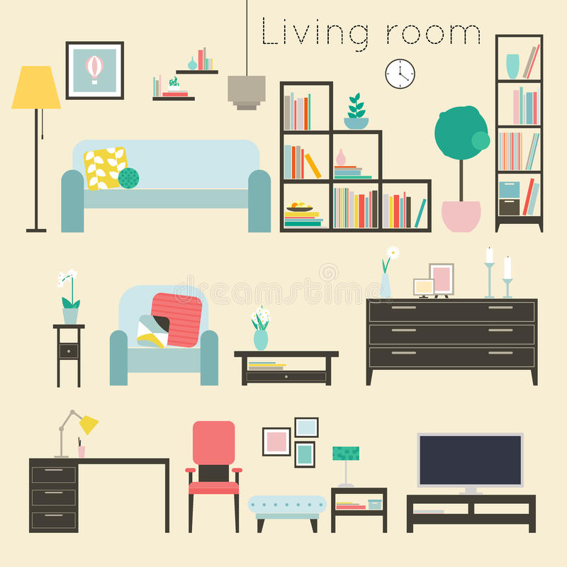 Living Room Furniture And Home Accessories Including Sofas Lo Stock Vector Image 49786149