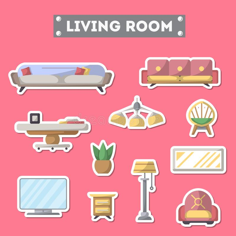 Living Room Furniture Icon Set In Flat Style Stock Vector ...