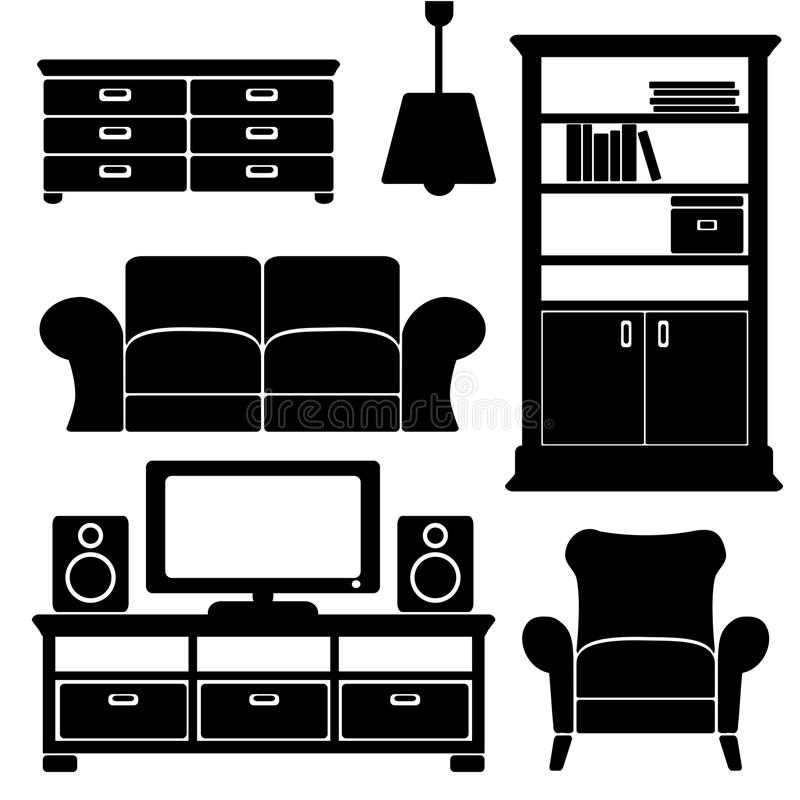 Furniture Ideas For Living Room Stock Vector: Living Room Furniture Icons Set, Black Isolated S Stock