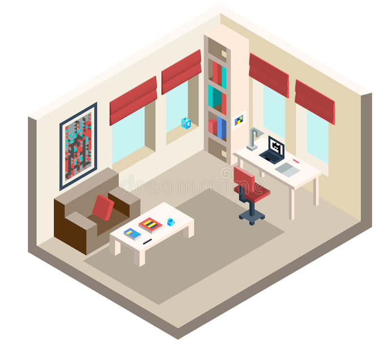 Living room. With furniture in isometric projection. Vector illustration vector illustration