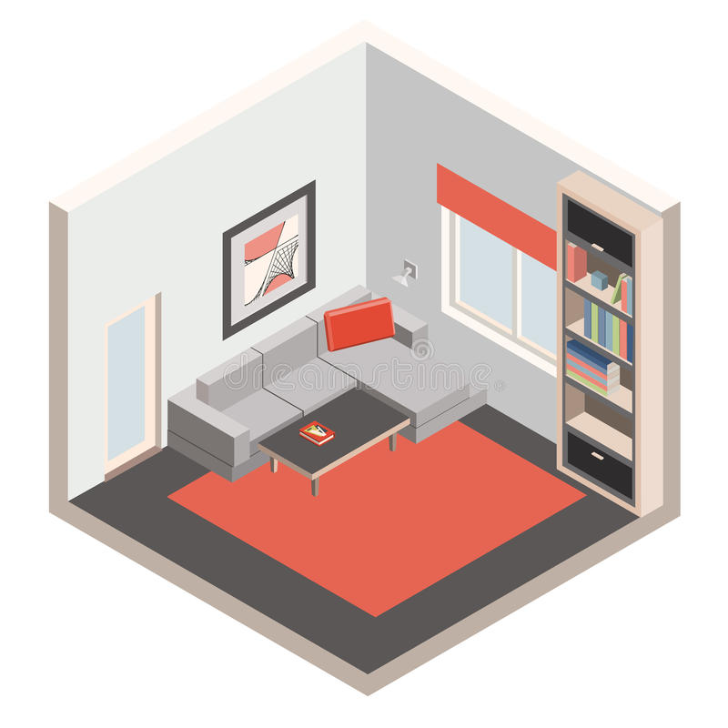 Living room. With furniture in isometric projection. Vector illustration stock illustration