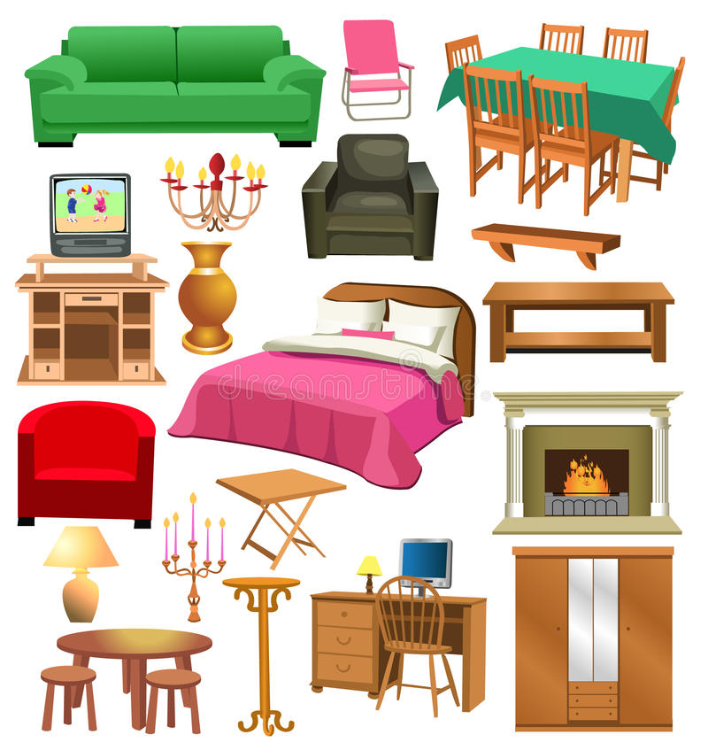 Living room furniture. Vector set of living room furniture isolated on a white background