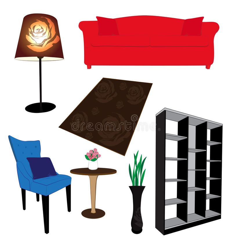 Living Room Furniture. On white background royalty free illustration