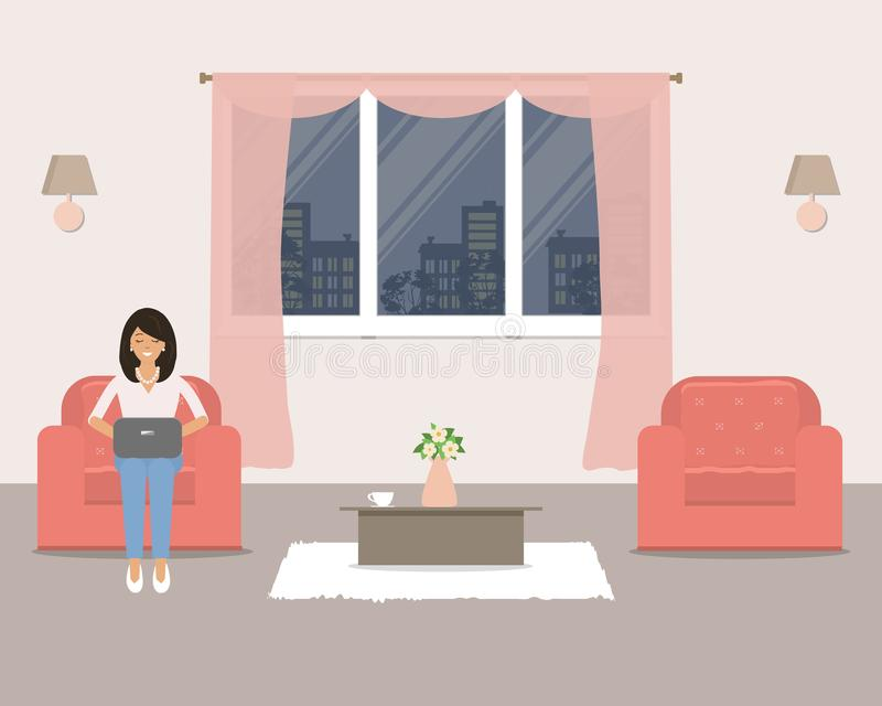 Living room with furniture on the window background. In the armchair is a young woman with a laptop. There are two red armchairs, a table and other objects in stock illustration