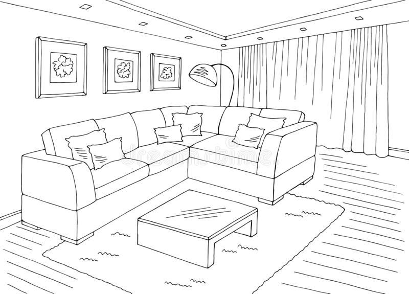Living Room Graphic Black White Home Interior Sketch Illustration Vector Stock Vector Illustration Of Doodle Decor 172847896