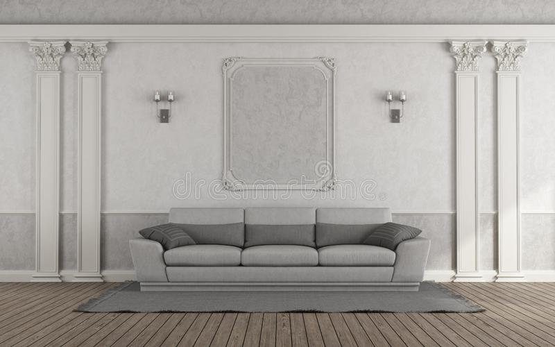 Living room with gray sofa in classic style - 3d rendering stock illustration