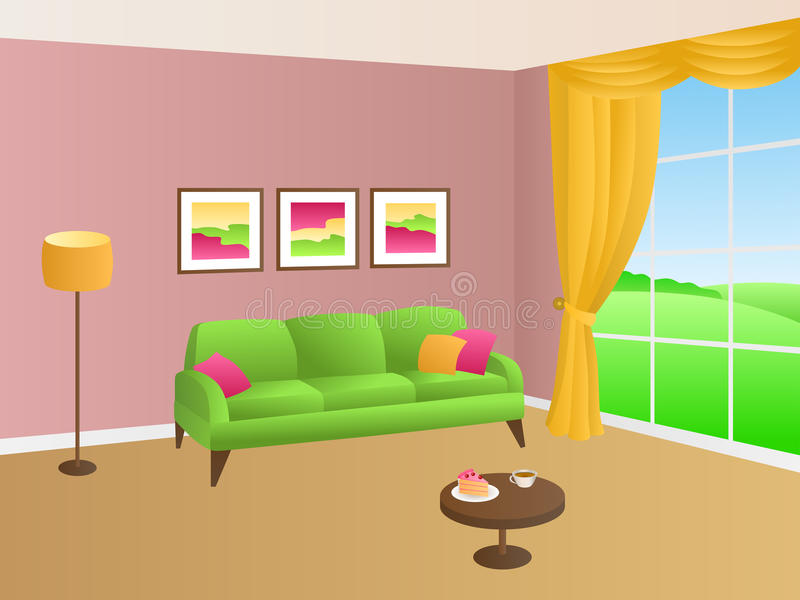 Living Room Green Pink Sofa Yellow Pillows Lamp Window Illustration ...