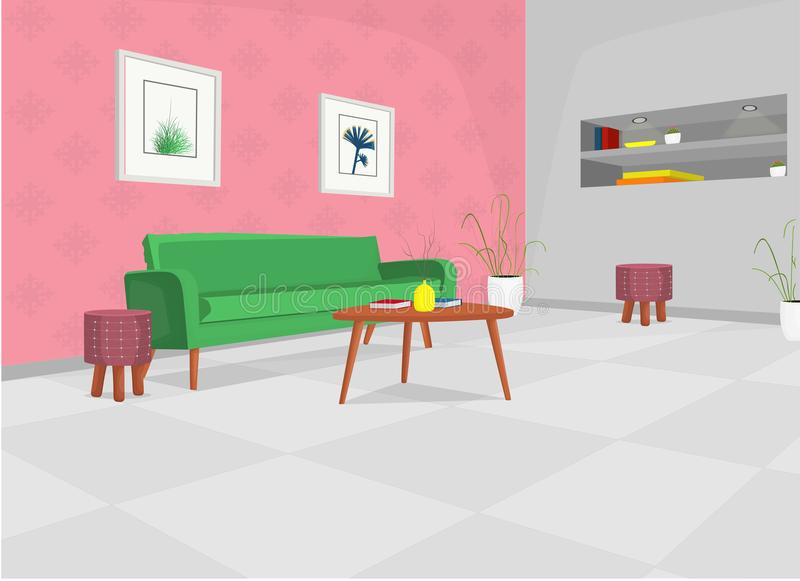 Living room with green sofa, table, and built in shelves / cartoon illustration cozy living room. Cozy living room with green sofa, tables, lights, plants and vector illustration