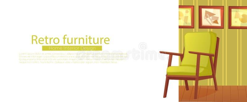 Living room home interior design banner. vector illustration