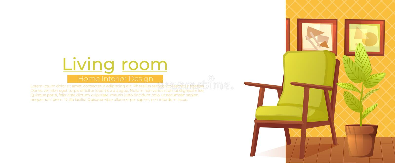 Living room home interior design banner. Comfortable armchair with a plant in a room with retro wallpaper. royalty free illustration