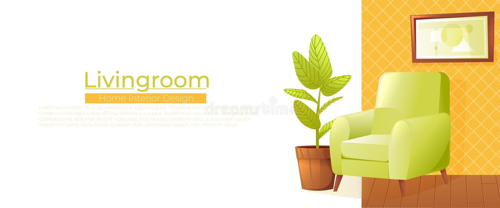 Living room home interior design banner. Comfortable armchair with a plant in a room with retro wallpaper. Vector royalty free illustration