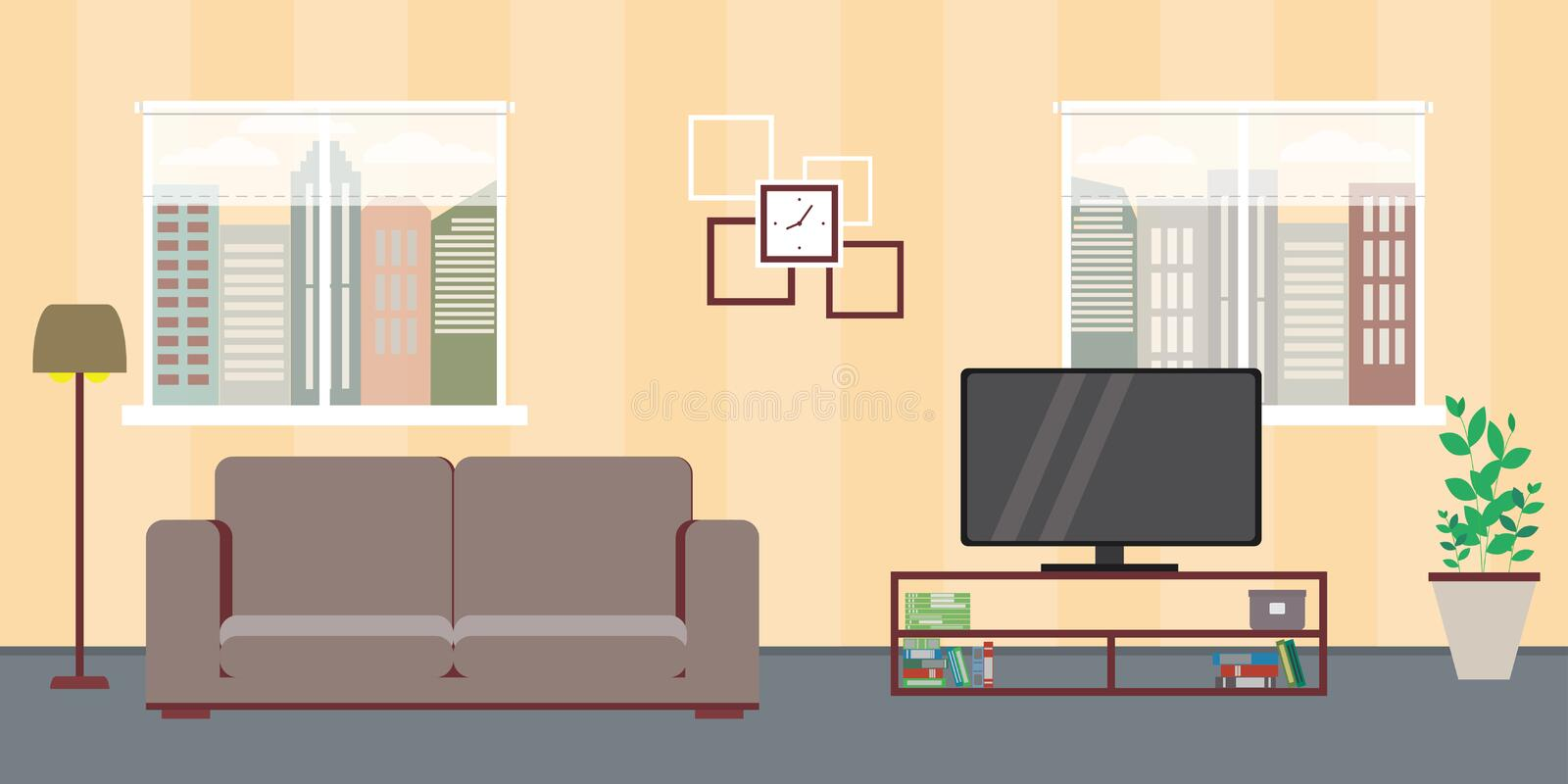 Living room home interior with two windows,sofa,tv,interior desi. Gn with furniture,flat vector illustration vector illustration