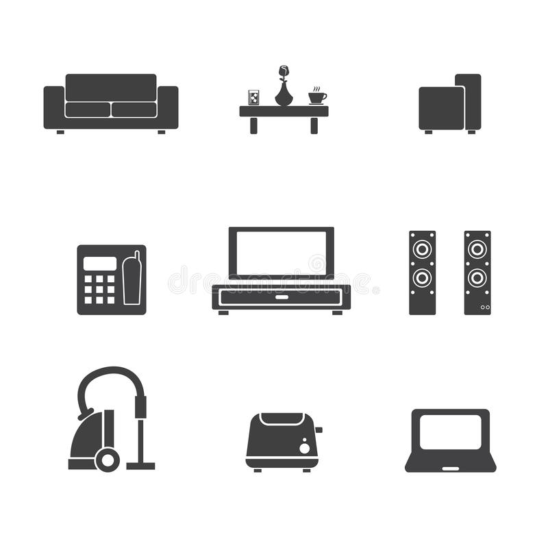 Living room icon stock vector illustration of decor for The make room website