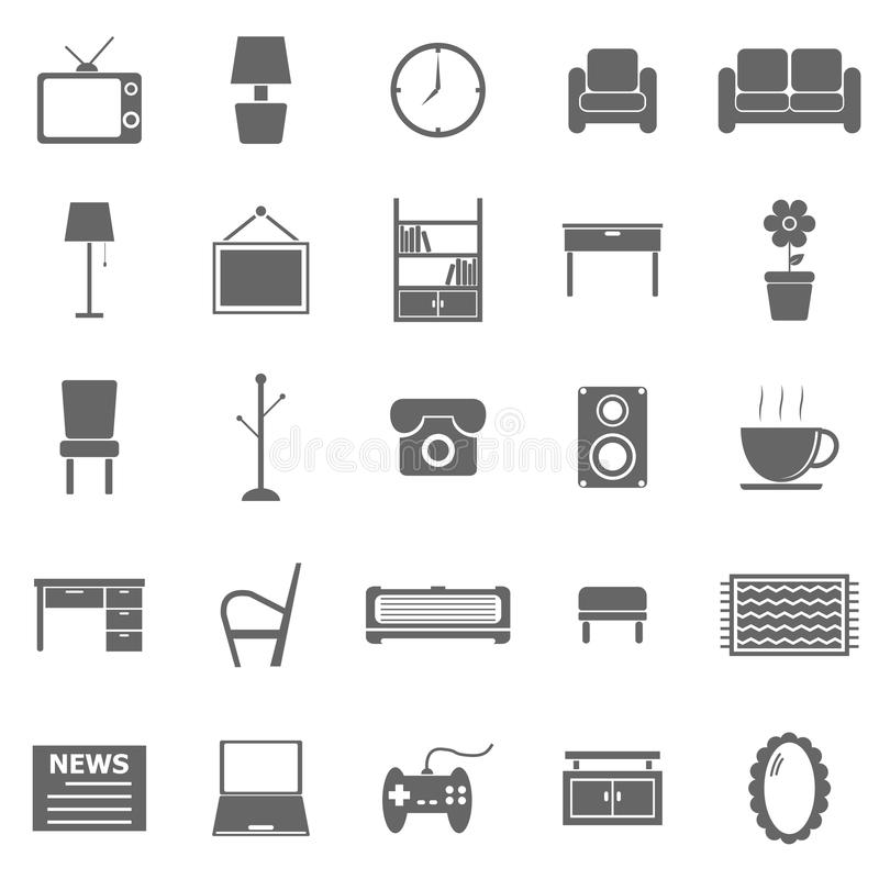 Download Living Room Icons On White Background Stock Vector - Image: 34663453
