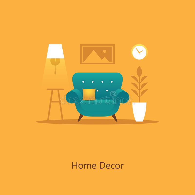 Living room illustration with armchair in flat style stock illustration
