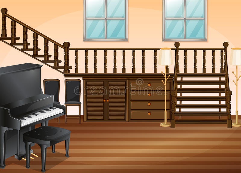 Living room. Illustration of a piano in a living room royalty free illustration
