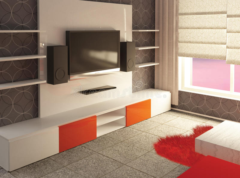 Living room interior 3d royalty free stock image