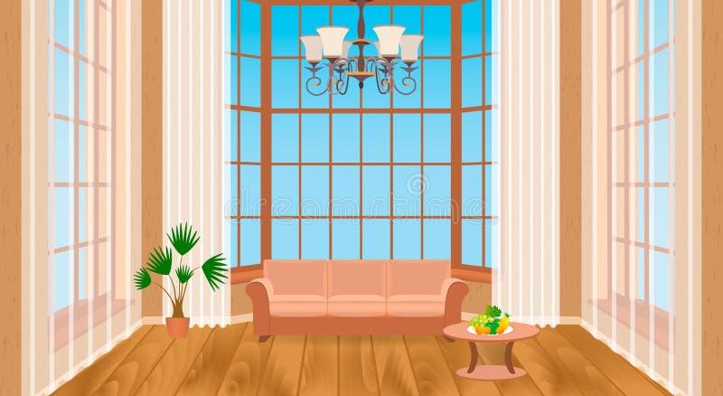 Living room interior with big windows. Modern design of light loft with wooden flooring, sofa, chandelier. stock illustration