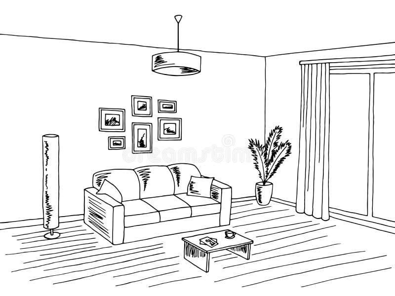 Living Room Interior Black White Graphic Art Sketch ...