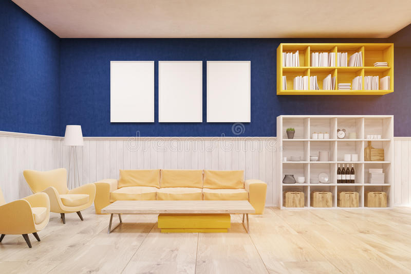 Living room interior with blue and white walls, wooden floor and large sofa. vector illustration