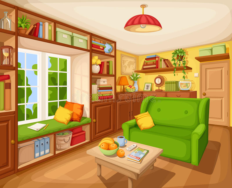 Living room interior with bookcase, sofa and table. Vector illustration. Vector cozy living room interior with bookcase, sofa and table stock illustration