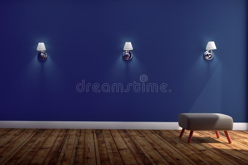 Living Room Interior with chair and Three lamps ,wooden floor on blue wall background. 3D rendering royalty free stock photo