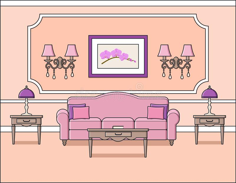 Living Room Interior In Classic Style. Vector Illustration. Stock ...