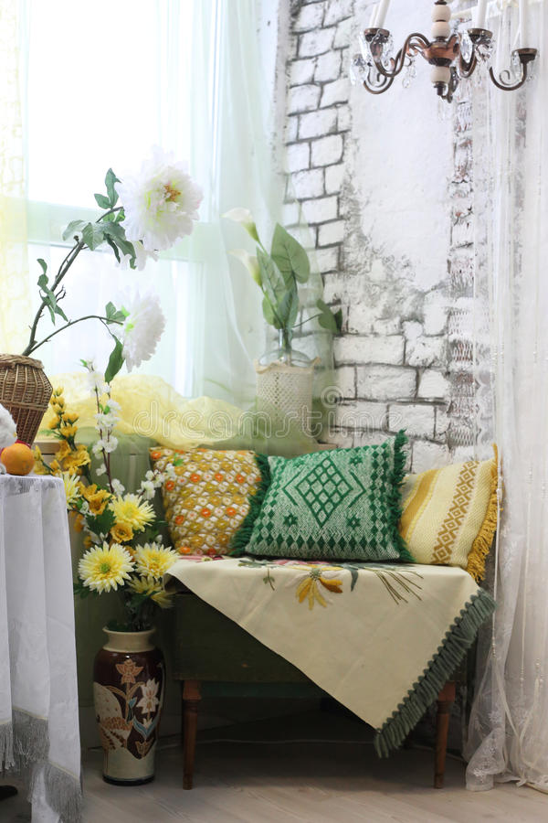Living Room Interior Corner With Colored Pillows, Vases And ...